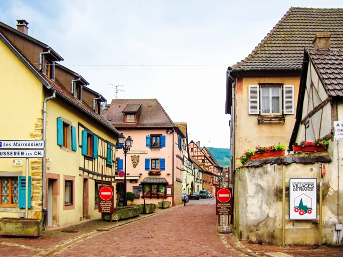 Entering the village of Eguisheim
